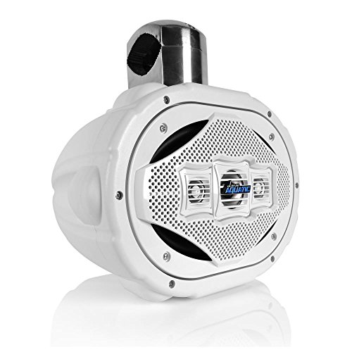 Bluetooth Marine Wakeboard Tower Speaker - 6x9 Inch 1200 Watt Four Way Audio Water Resistant Boat Sound System - in a Heavy Duty ABS Enclosure - Lanzar AQAWBS69WT (White)