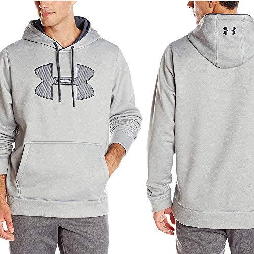 (Under Armour Men's Storm Armour Fleece Big Logo Hoodie, True Gray Heather /Stealth Gray, X-Large)