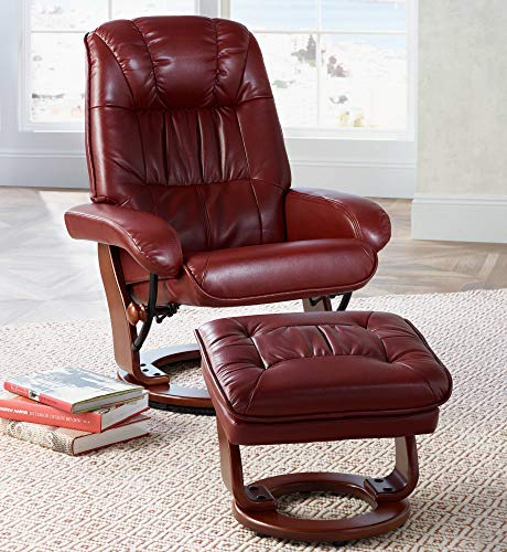 (Kyle Ruby Red Faux Leather Ottoman and Swiveling Recliner - BenchMaster)