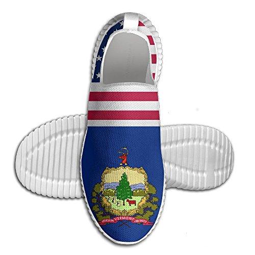 Oeuf Oeuf Usa Vermont Drapeau Femmes Mocassins Hommes Chaussures De Course Respirant Maille En Plein Air Sport Chaussures De Marche Blanc