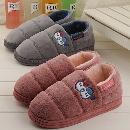CWAIXXZZ pantofole morbide In autunno e inverno con colori solidi home soggiorno con un tampone di cotone pantofole pacchetto con un paio di uomini e donne anti-slittamento, spesso caldo cotone felpat