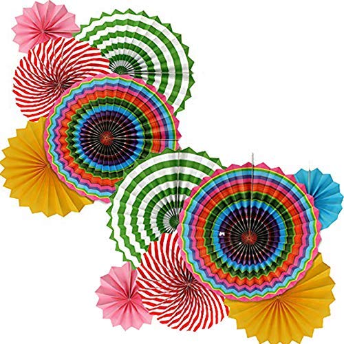 (Adorox Set of 12 Vibrant Bright Colors Cino De Mayo Hanging Paper Fans Rosettes Party Decoration for Holidays 8