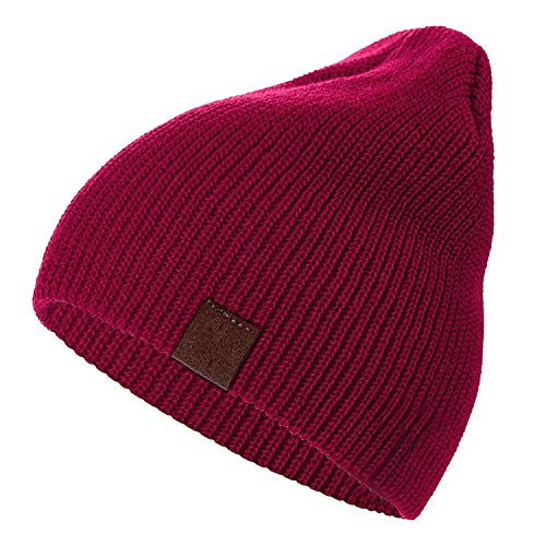 7 Colors PU Letter True Casual Beanies for Men Women Girl Boy Knitted Winter Hat,Dark red