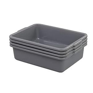 Parlynies Wash Basin Tub, 4 Pack Plastic Dish Washing Bin, Grey Bus Box