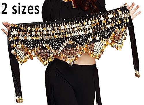 Hip Scarf Coin Wrap - Gypsy Skirt for Women Hip Scarf with Gold Coins Black Belly Dancer Belt Scarf Wrap