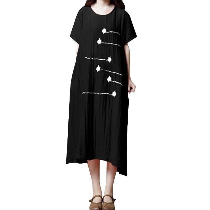 Women\'s Cotton Linen Dresses Pockets Plus Size Short Sleeve ...