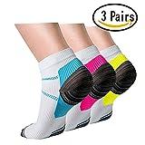 Plantar Fasciitis Support Compression Socks Women Men -3 Pairs- Best Running Ankle Athletic Socks(S/M, Assort2)