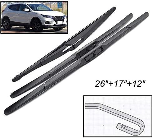 X AUTOHAUX 315mm 12 Car Rear Windshield Wiper Blade Arm Set for 06-13 Nissan Qashqai J10