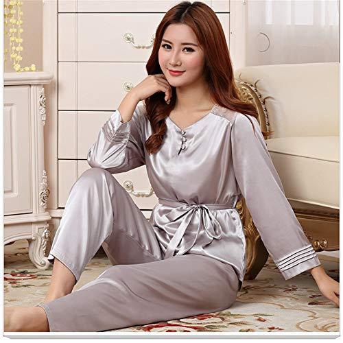 Satin Sleepwear Sexy L JYHTG Sciolto Camicia Pigiama Rayon Casual Primavera Autum Trim E Nightwear Lady Set Lace Home Wear 2Pcs Pantaloni StSgxY