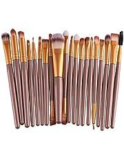 Lisingtool 20 Pcs/Set Makeup Brush Set Tools Make-up Toiletry Kit Wool Make Up Brush Set (Gold)