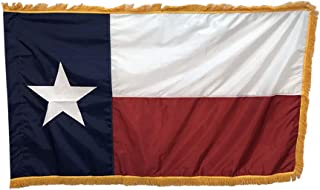 product image for 3x5' Texas Flag Indoor Flag with Pole Hem and Gold Ornamental Fringe - Proudly Made in The USA