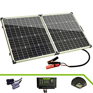 Otfrid Solar Mono Portable Foldable 12V Solar Panel for Camping. Solar Suitcase with Charger Controller. (100W)
