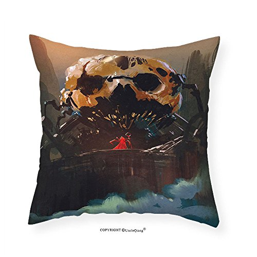 VROSELV Custom Cotton Linen Pillowcase Fantasy Art House Decor Wizard Villain Standing ito a Skull Skeleton Dark Supernatural Powers for Bedroom Living Room Dorm Multi 24