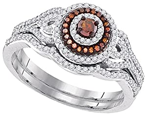 Size - 7.5 - Solid 10k White Gold Round Chocolate Brown And White Diamond Bridal Solitaire Halo Engagement Ring with Curved Matching Wedding Band (1/2 cttw)