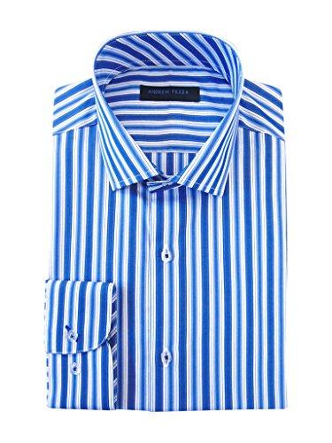 Andrew Fezza Men's 70854 100% Cotton Slim Fit Dress Shirt - Blue Stripe - 15.5