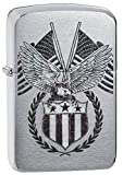 Zippo 1941 Replica Eagle & Flag Pocket Lighter, Brushed Chrome