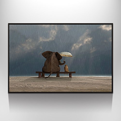 Visual Art Decor Modern Animals Canvas Prints Wall Art Elephant and Dog Picture Framed and Stretched Ready to Hang (Rainy Day, 28