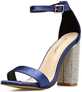 Onfly Pompe 10cm Strass Chunkly Talon Ankel Strap Sandales Robe Chaussures Femmes Simple Satin Ouverte Ouverte D'orsay Ceinture Boucle OL Court Chaussures Roma Chaussures Eu Taille 34-40