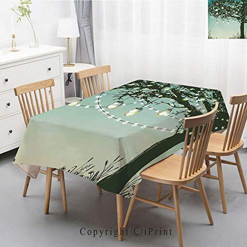 - Natural Cotton Linen Rectangle Tablecloth Garden Botanic Print Pattern Country Rustic Village Burlap Table Cover Cloth Art,47x63 Inch,Magical,Lanterns and Lamps Hanging on Tree Branch Decorative Backy