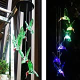 Cheap eQFeast Solar Hummingbird Wind Chimes, Color-Changing LED Solar Mobile Wind Chime, Waterproof Six Hummingbird Wind Chimes For Home Party Night Garden Decoration