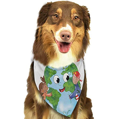 - Colored pet Scarf Earth Two Cute Kids Hugging Happy Planet Earth Bird and Hearts Embracing in Cartoon Style W27.5 xL12 Scarf for Small and Medium Dogs and Cats