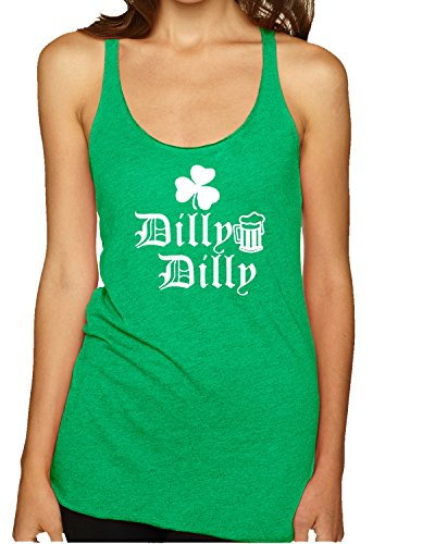 Wild Bobby Dilly Dilly Beer Shamrock White | Womens ST. Patrick's Day Premium Tri-Blend Racerback Tank Top, Envy, - Hottest Women Usa In