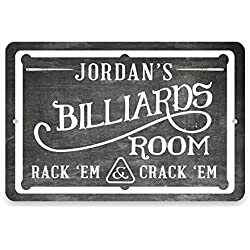 Personalized Chalkboard Billiards Room Metal Room Sign