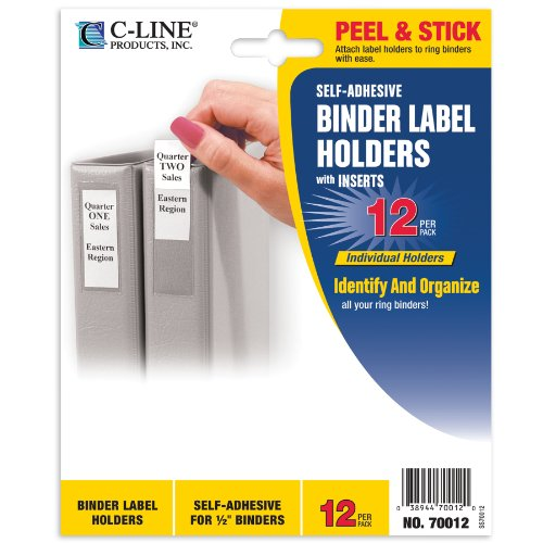 "C-Line Self-Adhesive Binder Label Holders for 1/2"" Ring Binders, 3/4 x 2-1/16 12 per Pack (70012)"