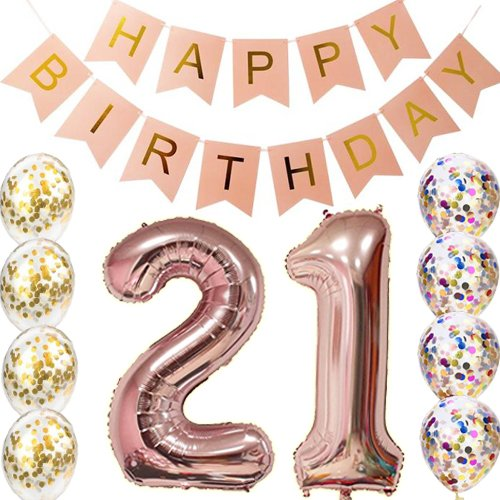 21st Birthday Decorations Party supplies-21st Birthday Balloons Rose Gold,21st Birthday Banner,Table Confetti Decorations,21st Birthday Gifts for her,use Them as Props for Photos (Rose Gold 21)