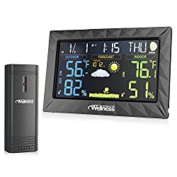 Wellness Personal Care Wired/Wireless Weather Station with Thermometer, Hydrometer & Alarm Clock/Snooze Featuring Bright Color Coded LED Digital Display Screen with Large Easy to Read Digits