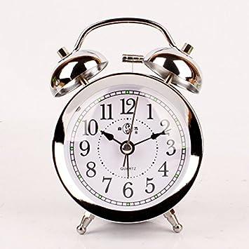 LILUO Reloj Despertador de Metal Silencio Creativo poca luz ...