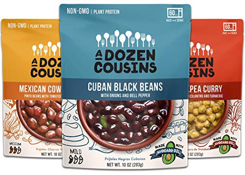 A Dozen Cousins Variety Pack Beans - Ready to Eat Snacks, Cuban Black Beans, Mexican Cowboy Beans, Trini Chickpea Curry, 10 ounce (Pack of 3)