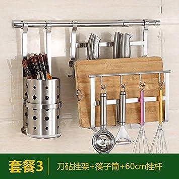 KABSJ Kitchen Storage Cocina multifunción Estantería Pan pot rack, Rack de cocina de acero inoxidable, para colgar en pared condimento Rack de ...