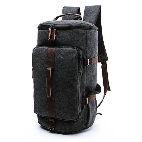 Travel Duffel Backpack, Yousu Men Large Canvas Backpack Casual Vintage Rucksack Daypack School Bookbag 3-In-1 (Black)