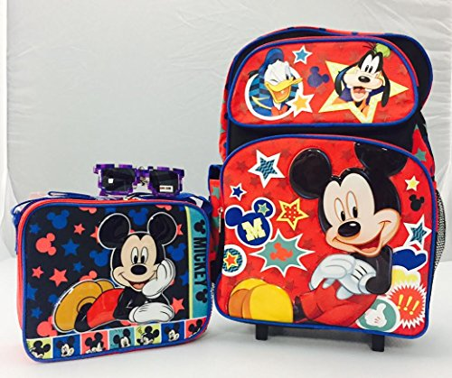 Backpack Rolling Friends (Disney Mickey Mouse and Friends Large Rolling Backpack and Insulated Lunch Bag, Sunglasses Set)