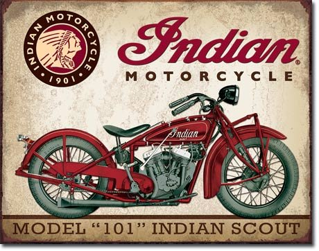 Indian Scout Tin Sign 13 x 16in