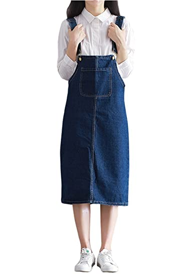 3c58b40ed5a TOPJIN Women s Loose Knee Length Jeans Overall Dress Denim Suspender Skirt  Dark Blue S