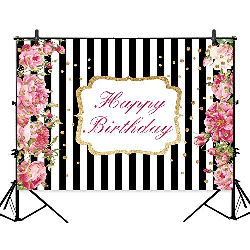 Allenjoy 7x5ft Black and White Stripe Sweet Birthday Party Backdrop Pink Flowers Golden Shiny Dots Cake Table Banner Decorations Adult Girls Photography Background Photo Studio Booth Props