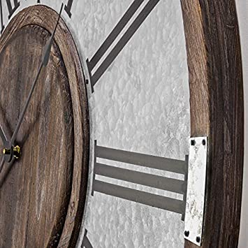 American Art Decor Wood and Metal Oversized Vintage Wall Clock 31