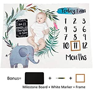 MHJY Baby Monthly Milestone Blanket with Milestone Chalkboard, Marker and Frame, Newborn Boys Girls Soft Fleece Elephant Monthly Growth Blanket Photo Photography Props 40″x51″