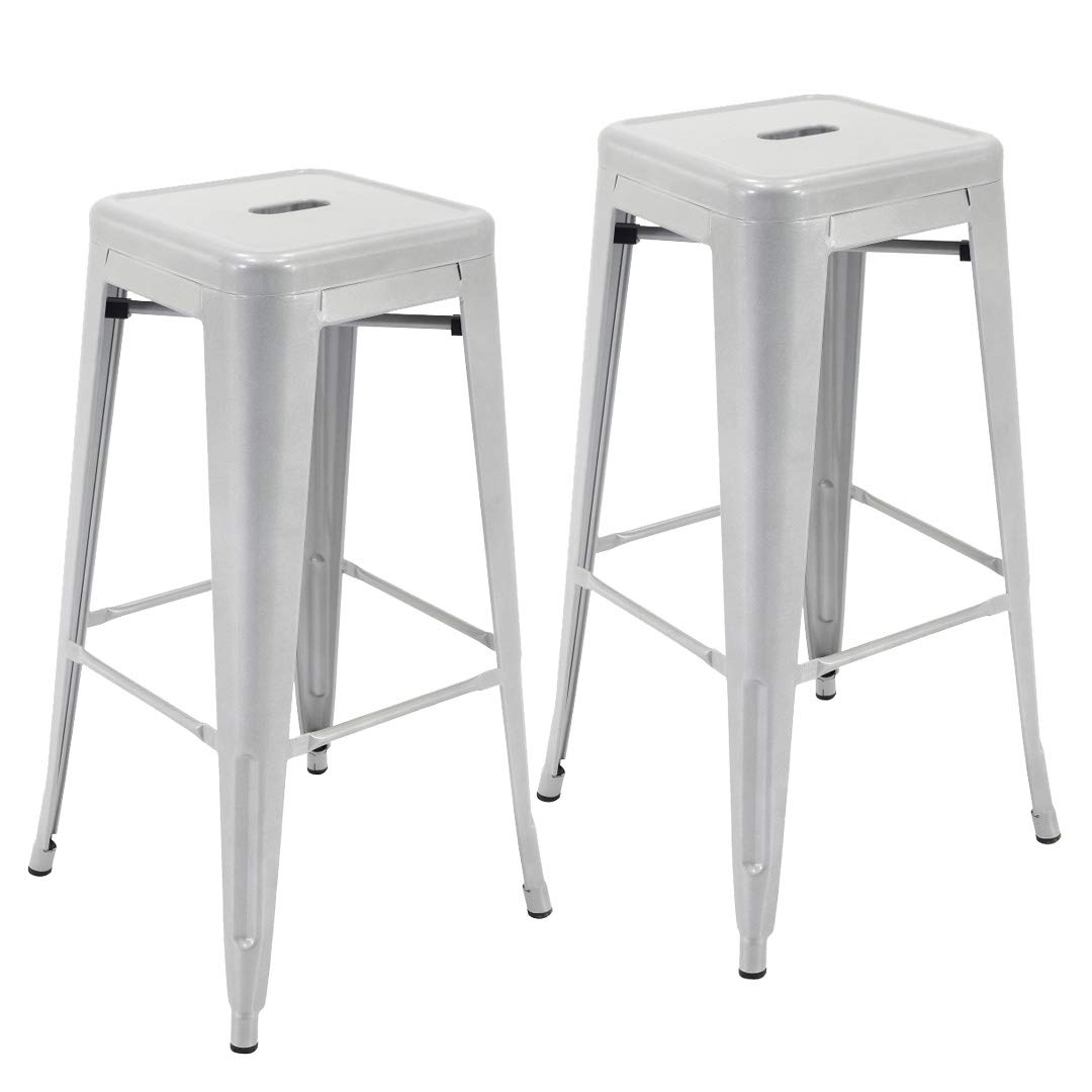 """Bar Stools One Size Blue Porthos Home ZFC003B BLU Stackable All-Weather Rust-Resistant Metal Barstool 30/"""" Seat Height Set of 2"""