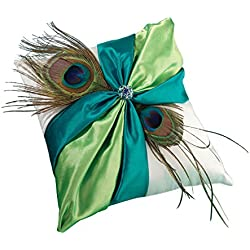 Lillian Rose Peacock Feather Blue Green Wedding Ring Pillow