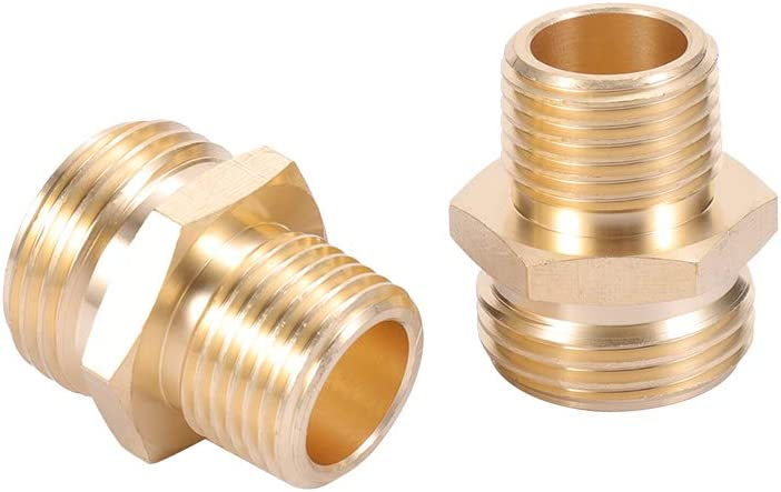 "1//2"" Female GHT to 3//4/"" Male NPT Brass Pipe Fitting Adapter Screw Connector"