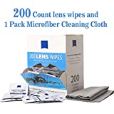 Lens Wipes Eyeglass Cleaner Wipes Remove Smudges No More Scratches Streaks Residue Pre-Moistened Cleaning Wipes (200 Count) Microfiber Cleaning Cloth