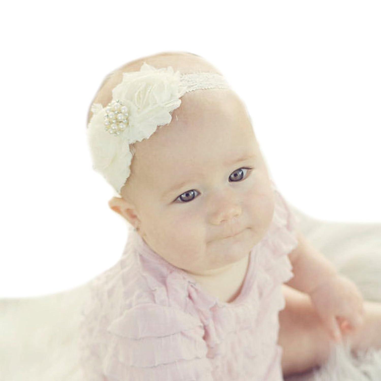 Miugle Baby Girls Shabby Chic Flower Headbands Baby Christening Headbands by Miugle