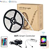 Magic Hue WiFi Light Strip, Works with Android & iOS System and Alexa & Google Assistant, Comes with 16.4ft IP65 5050 RGB 150 LEDs Strip Light+Remote Control+UL Listed Power Adapter+WiFi Control Box