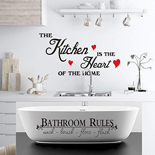 Bathroom Wall Decals for Kitchen is Heart of Home Decor Waterproof Bathroom Rulers Toilet Funny Stickers Door Quotes…