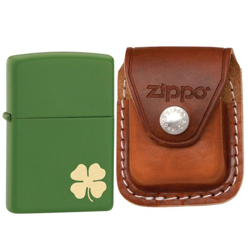 Zippo 21032 Classic Shamrock Moss Green Matte Windproof Lighter with Zippo Brown Leather Clip Pouch