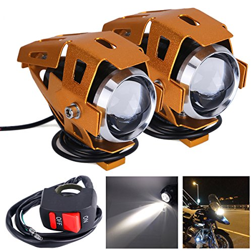 2pcs Motorcycle Headlight,U5 Cree LED Headlight for DRL Spotlight with High beam/Low beam/Flash 3 Models and ON/OFF Switch Super Bright 1200LM 6500K White Color