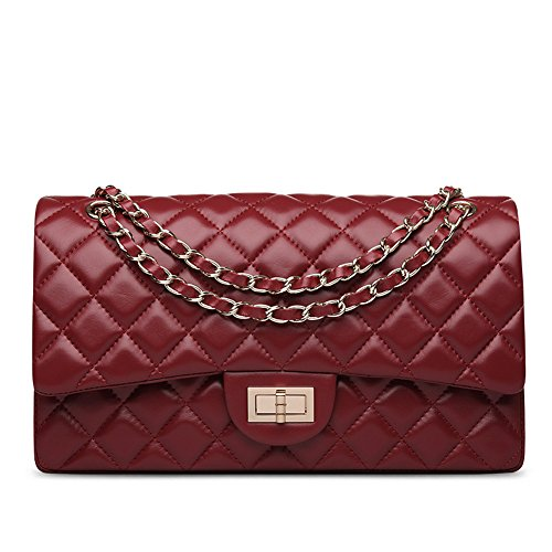 Ainifeel Women's Quilted Leather Shoulder Handbag Hobo Bag Purse (Medium, Claret) by Ainifeel Quilted&Chain Strap Collection